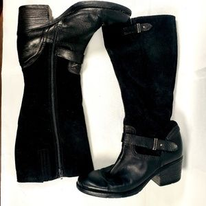 CLARKS Black Suede Leather Boots